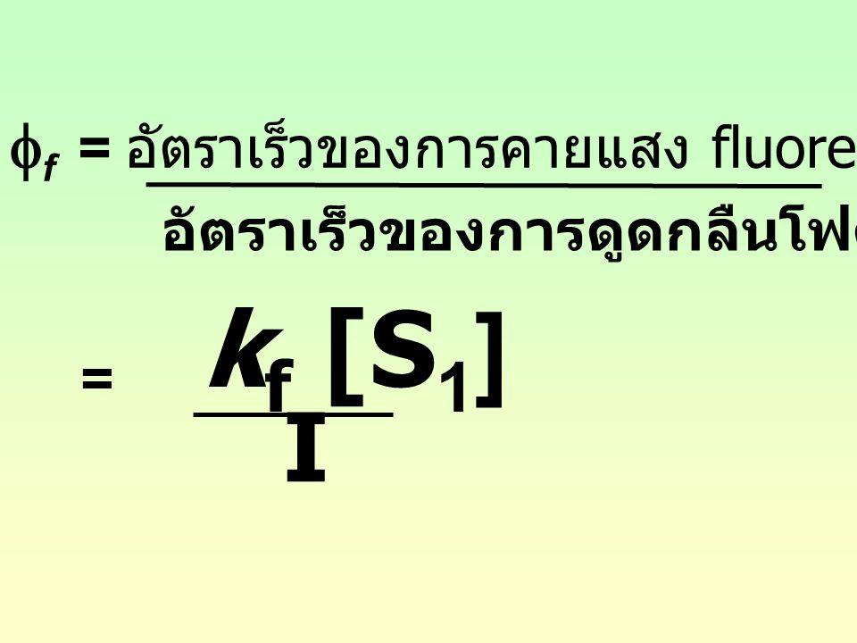 kf [S1] I ff = อัตราเร็วของการคายแสง fluorescence จาก S1